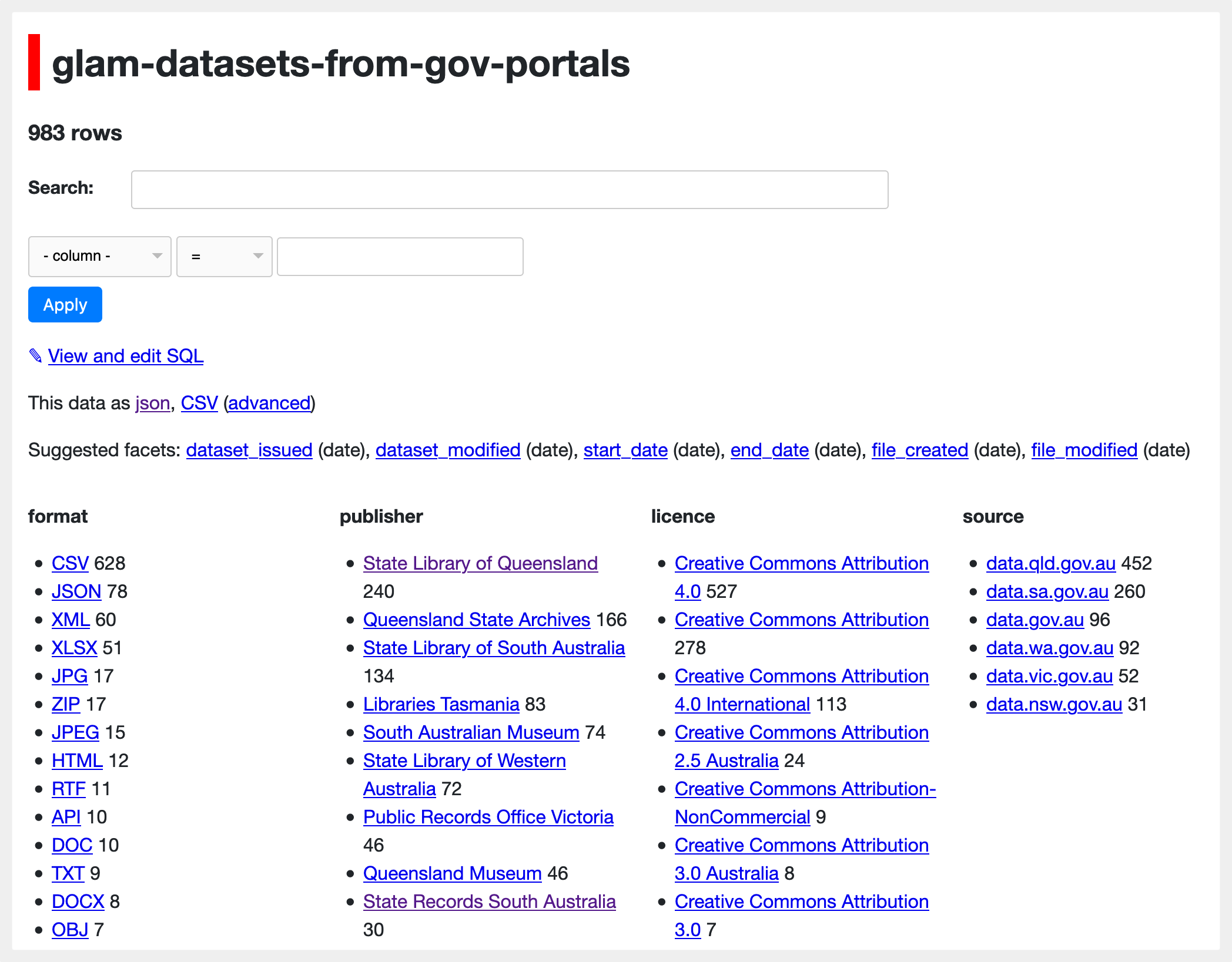 Share searchable versions of your CSVs online with Datasette & Glitch